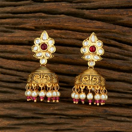 301024 Kundan Jhumkis With Gold Plating