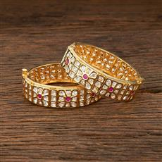 301027 Kundan Openable Bangles With Gold Plating