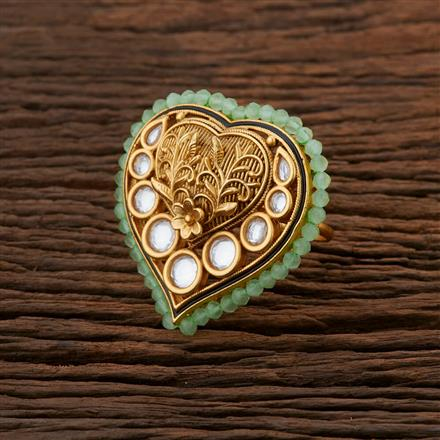 301034 Kundan Classic Ring With Gold Plating