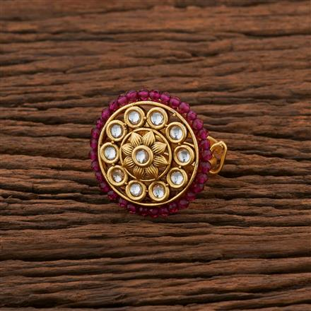 301035 Kundan Classic Ring With Gold Plating