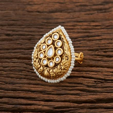 301036 Kundan Classic Ring With Gold Plating