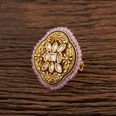 301037 Kundan Classic Ring With Gold Plating