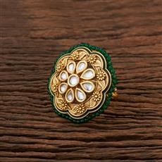 301038 Kundan Classic Ring With Gold Plating