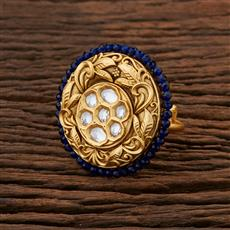 301039 Kundan Classic Ring With Gold Plating