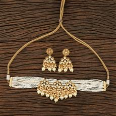301121 Kundan Choker Necklace With Matte Gold Plating