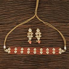 301122 Kundan Choker Necklace With Gold Plating