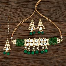 301123 Kundan Meenakari Necklace With Gold Plating