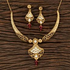 301126 Kundan Classic Necklace With Matte Gold Plating