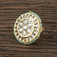 301129 Kundan Classic Ring With Gold Plating