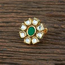 301130 Kundan Classic Ring With Gold Plating