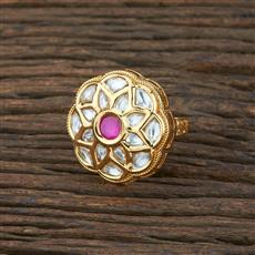 301131 Kundan Classic Ring With Gold Plating