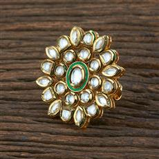 301132 Kundan Classic Ring With Gold Plating