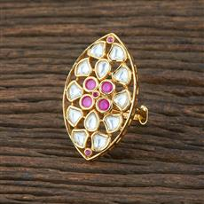 301133 Kundan Classic Ring With Gold Plating