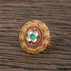 301137 Kundan South Indian Ring With Matte Gold Plating