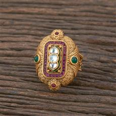301138 Kundan South Indian Ring With Matte Gold Plating