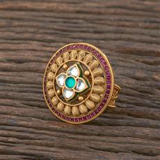 301139 Kundan South Indian Ring With Matte Gold Plating