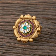 301140 Kundan South Indian Ring With Matte Gold Plating