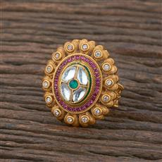 301141 Kundan South Indian Ring With Matte Gold Plating