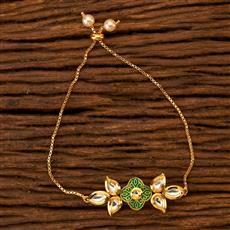 350081 Kundan Adjustable Bracelet with gold plating