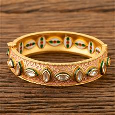 350097 Kundan Classic Bangles With Gold Plating