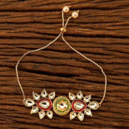 350101 Kundan Adjustable Bracelet with gold plating