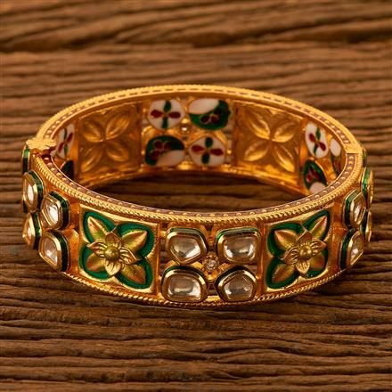 350122 Kundan Classic Bangles with gold plating