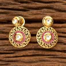 350124 Kundan Short Earring with gold plating