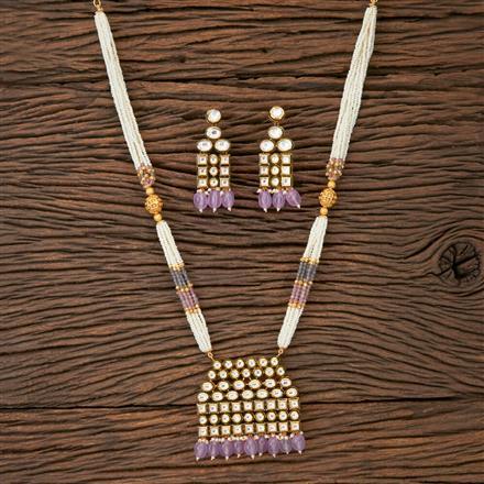 350212 Kundan Mala Pendant set with gold plating