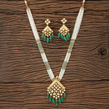 350214 Kundan Mala Pendant set with gold plating
