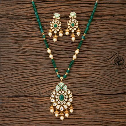 350215 Kundan Mala Pendant set with gold plating
