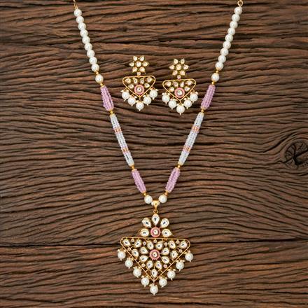350216 Kundan Mala Pendant set with gold plating