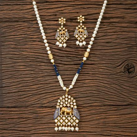 350217 Kundan Mala Pendant set with gold plating