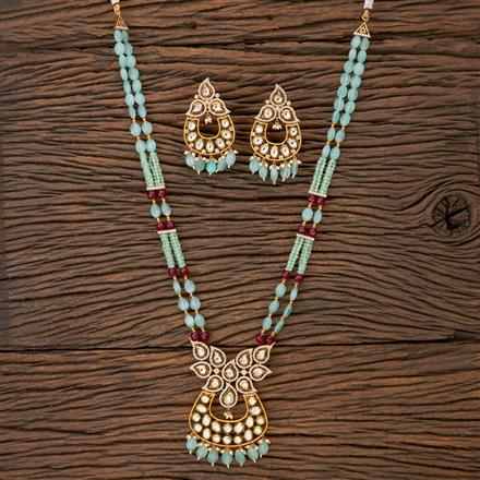 350218 Kundan Mala Pendant set with gold plating
