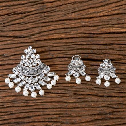 350234 Kundan Classic Pendant set with Oxidised plating