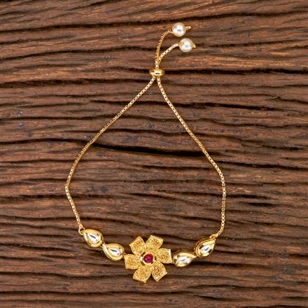 350247 Kundan Classic Bracelet with gold plating