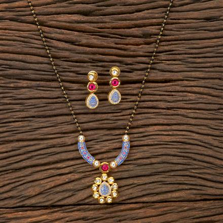 350249 Kundan Classic Mangalsutra with gold plating