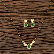 350250 Kundan Classic Mangalsutra with gold plating