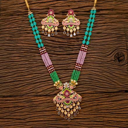 350251 Kundan Mala Pendant set with gold plating