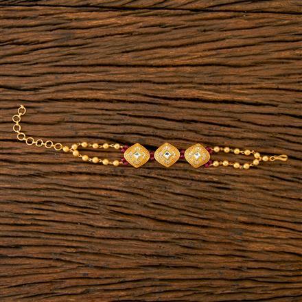 350255 Kundan Classic Bracelet With Gold Plating