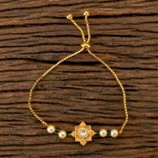 350257 Kundan Adjustable Bracelet With Gold Plating