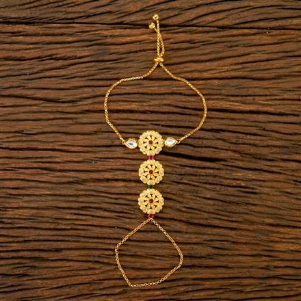 350270 Kundan Classic Hath Pan With Gold Plating