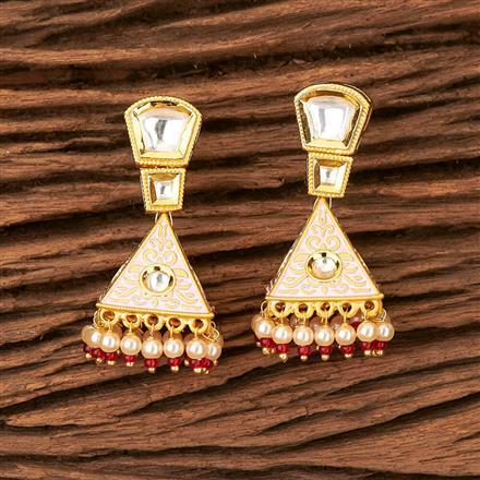 350298 Kundan Jhumkis with Gold Plating