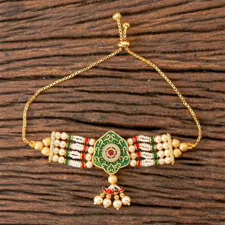 350323 Kundan Adjustable Bracelet with Gold Plating
