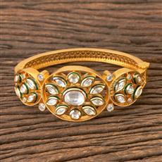350346 Kundan Classic Kada with Gold Plating