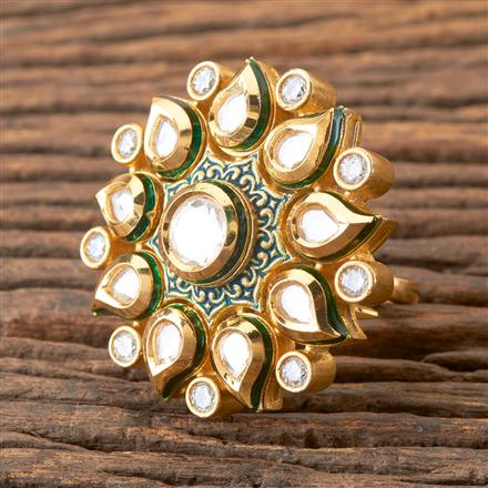 350352 Kundan Classic Ring with Gold Plating