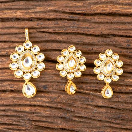 350365 Kundan Classic Pendant set with Gold Plating