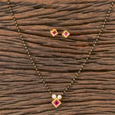 350380 Kundan Delicate Mangalsutra With Gold Plating