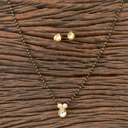 350381 Kundan Delicate Mangalsutra With Gold Plating
