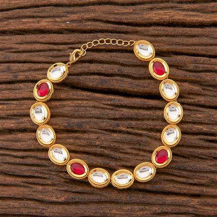 350402 Kundan Classic Bracelet With Gold Plating