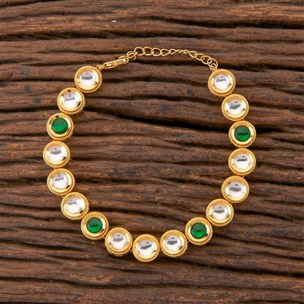 350403 Kundan Classic Bracelet With Gold Plating